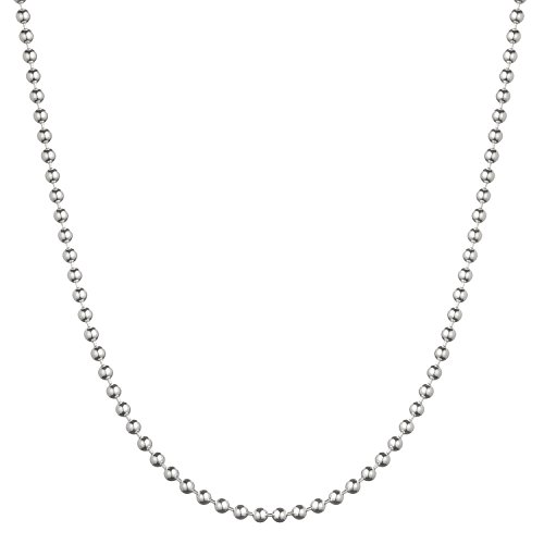 """Bling For Your Buck Sterling Silver 3mm Italian Ball Bead Chain Necklace - 18"""""""