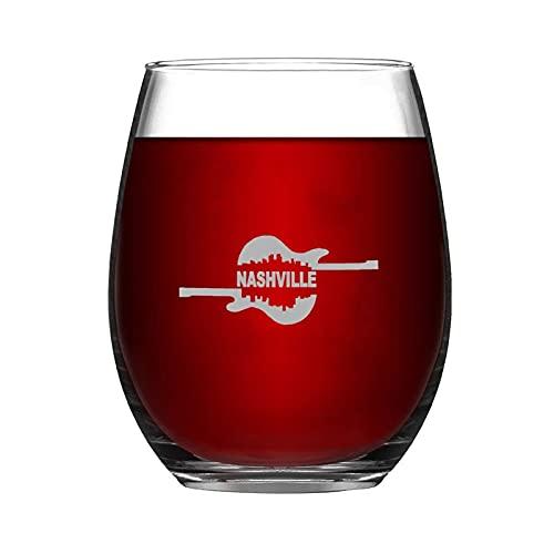 Copa de vino divertida y chic de Nashville City Guitar sin tallo, grabado láser, para whisky, vino tinto y refresco, regalo de leche para amante del vino, mamá, papá, amiga o ella