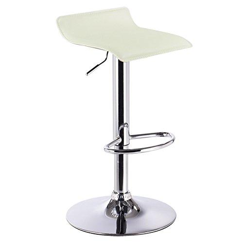 WOLTU BH11cm-1 Design Hocker Barhocker , stufenlose Höhenverstellung , verchromter Stahl , Antirutschgummi , pflegeleichter Kunstleder , gut gepolsterte Sitzfläche , Creme