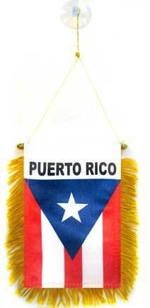 AZ FLAG Puerto Rico Mini Banner 6'' x 4'' - Puerto Rican Pennant 15 x 10 cm - Mini Banners 4x6 inch Suction Cup Hanger