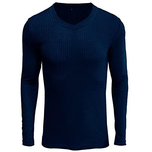 XDJSD T-Shirt da Uomo a Maniche Lunghe da Uomo con Scollo a V T-Shirt da Uomo a Maniche Lunghe con Fondo Maglia da Uomo Casual da Uomo Tinta Unita Top