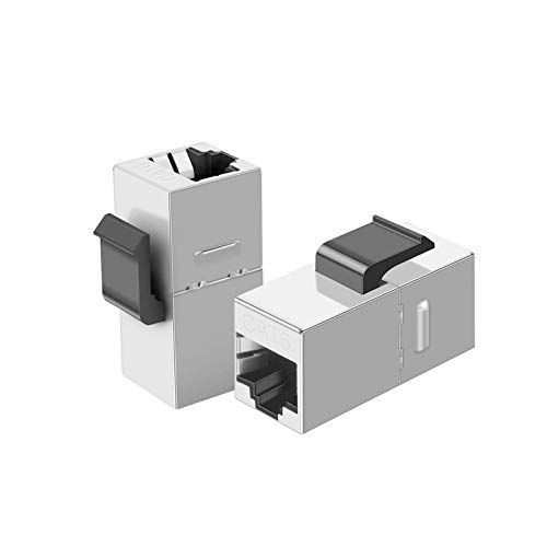 CableCreation 10er-Pack Cat6 Shielded Inline Modular Coupler mit Keystone Latch, RJ45 Modular Coupler für Panel-Anschluss, Cat6 8P / 8C Buchse zu Buchse Klasse D