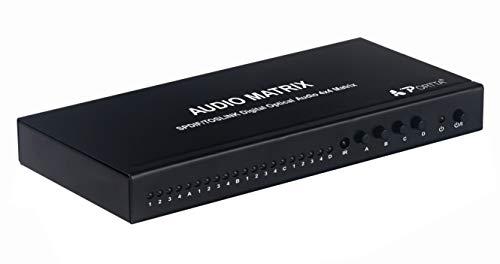Portta SPDIF/TosLink 光デジタル 切替器 4入力 光ケーブル 分配器 光デジタル オーディオスプリッタ オーディオ 分配器 toslink 分配 光デジタル セレクター 光デジタル マトリックス (光マトリックス 4入力4出力)