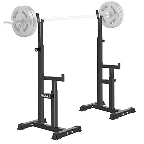 Squat Rack, Pair of Adjustable Barbell Free Press Bench Rack Squat Stand 660Lbs Solid Steel Dip Station Dumbbell Power Racks Stands Weight Lifting Training Home Gym Fitness Adjust Height, Black