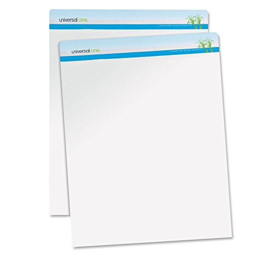 UNIVERSAL OFFICE PRODUCTS 45600 Sugarcane Based Easel Pads, Unruled, 27 x 34, White, 50 Sheets, 2 Pads/Pack
