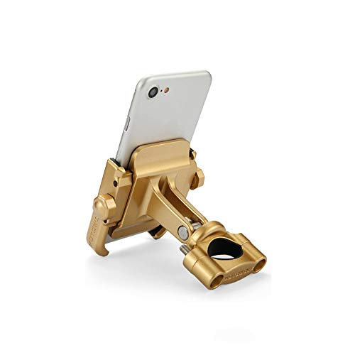 for 4-6 inch Phone Motorcycle Cycling Accessories 360 Degrees Rotating Handlebar Mount Adjustable GPS Stand Phone Mount(Gold)