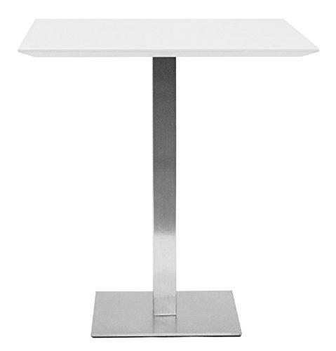 Tenzo Chill Table de Bar, Bois, Blanc/Acier, 60 x 60 x 105 cm