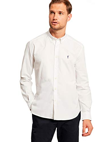 Camisa Oxford Blanca con Logo Bordado