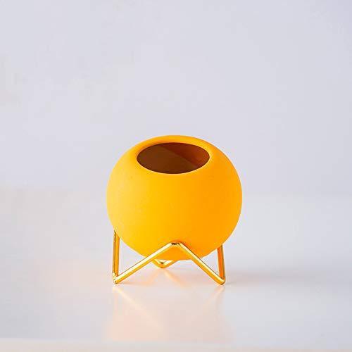 WayGlory - Vaso rotondo moderno in ceramica per piante grasse e cactus, con supporto in metallo (giallo)