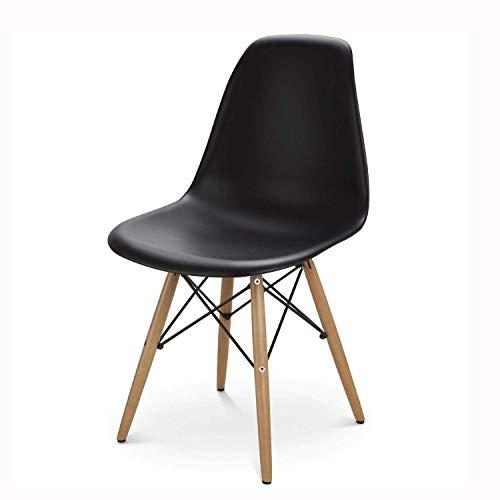 イームズチェア リプロダクト デザイナーズ家具 ジェネリック オフィス椅子 木製 おしゃれ ダイニング チェア 軽量 (ブラック)