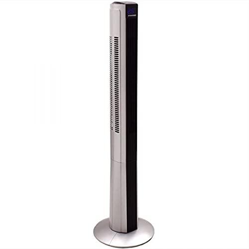 Syntrox Germany Ventilador de torre XXL, 50 W, con mando a distancia, temporizador y oscilación, color negro y plateado