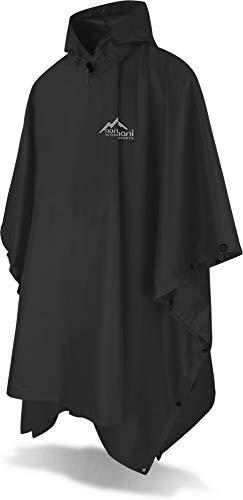 normani Outdoor Sports Regenponcho mit Kapuze - Wassersäule: 6000 mm - Regenjacke für Damen und Herren Farbe Schwarz