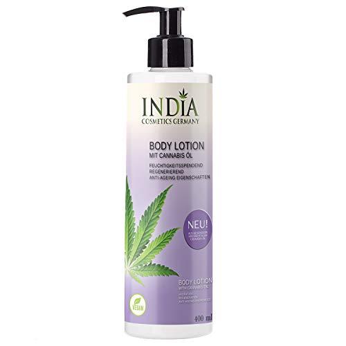 India\'s Premium Bodylotion mit Cannabis Öl Premiumqualität in 400ml XXL Größe ohne Parabene. Antiaging, Antifaltencreme. Perfekte Hautpflege.