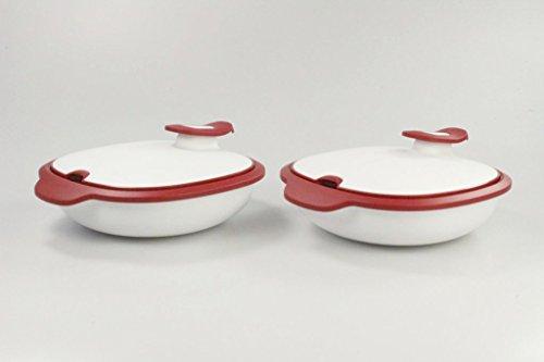 TUPPERWARE Thermo-Duo 1,3 L (2) rot-weiß Servieren Warmie Warmhalten Iso-Duo