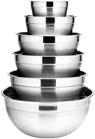 6Pcs Stainless Steel Bowls Selling rankings Set Mixing 2021 autumn and winter new Nesting Capacity Bo 1.5-5L