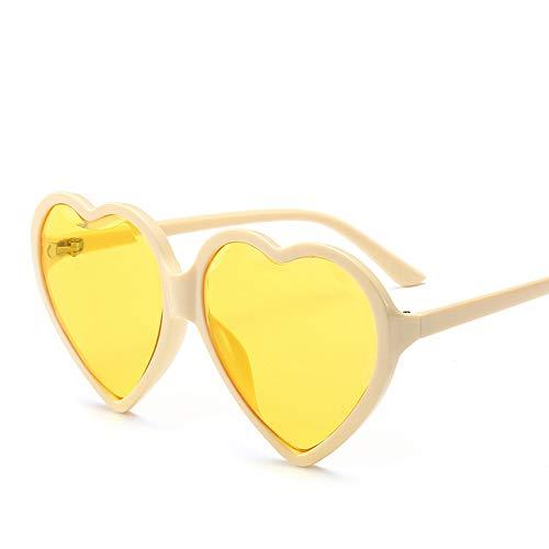 DKEE Gafas de Sol Negro Rojo Amarillo Gafas De Sol Mujer Diamante Corte Borde Tipo De Corazón Gafas De Sol Mujer Caja Grande Tendencia Amor Gafas De Sol (Color : Yellow)