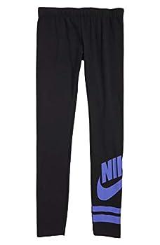 Nike Big Girl s  7-16  Sportwear Graphic Leggings  Black/Purple Medium