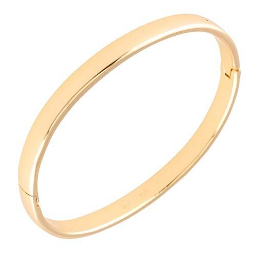 Pulsera rígida ovalada lisa para mujer, oro amarillo 750 laminado*