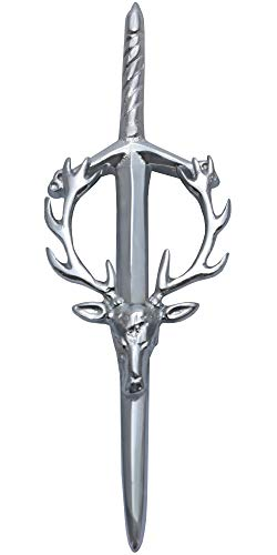 MajesticUSA Kilt Pins for Men Highland Scottish Accessory Shamrock, Thistle, Lion, Masonic, Stag Head, Celtic Circle, Irish Sword Brass Steel and Chrome Finish Construction Stag Head Large