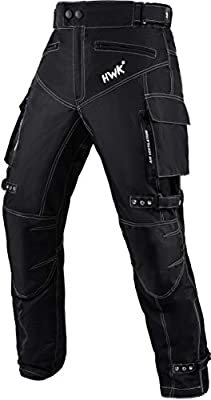 Motorcycle Pants for Men Dualsport Motocross Motorbike Pant Riding Overpants Enduro Adventure Touring Waterproof CE Armored All-Weather (Waist30''-32'' Inseam30'') Black from HWK