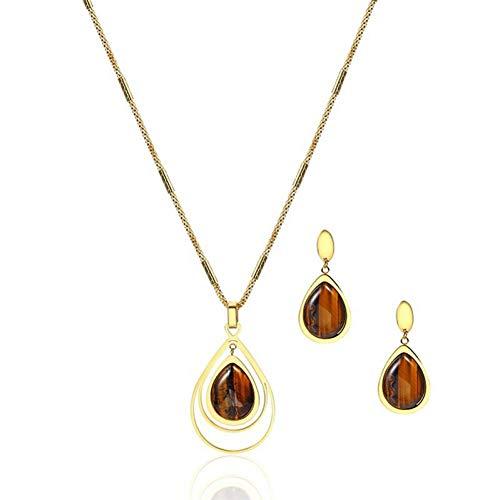 Gepersonaliseerde accessoires, halskettingen, gouden tijgeroog ovale sieraden set natuursteen Boheemse Water Drop Ketting en Dangle oorbellen bruin steen, Thumby