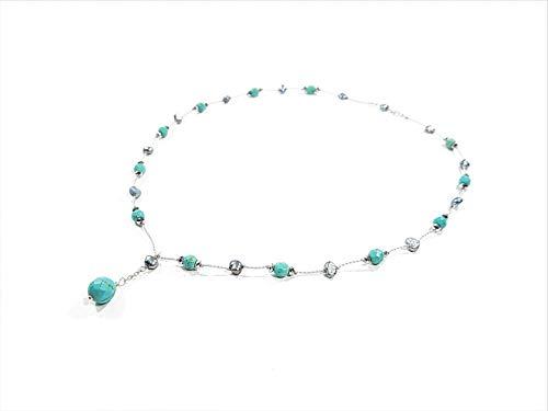 Gargantilla con perlas naturales gris y turquesas