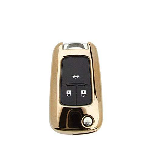 KQTRW Autoschlüssel Abdeckung Weiche TPU Auto Styling Schlüsseletui Abdeckung Für Opel Corsa Dc Vectra B Mokka Meriva Vivaro Zafira Signum Omega Astra Schlüsselanhänger, Gold