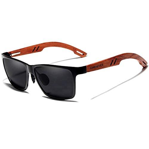 Óculos de Sol Masculino Design Madeira Kingseven Polarizados com UV400 Espelho B5507 (C1)