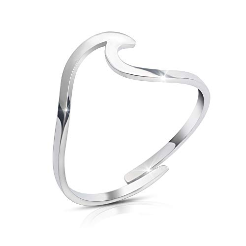Good.Designs ® Wave Damen Ring in 925 Sterling Silber (verstellbar) Ring mit Welle in silberfarben silberner Ring ringsilber Silver silberring silberschmuck damenring damenschmuck