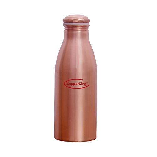 CopperKing Ayurvedic Cu Pure Copper Small Water Bottle (22oz - 650ml) Easy to Carry | Best Use Kids & Women for Traveling, Office, School - Collage, Yoga, Gym.