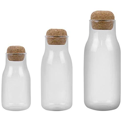 Angoily 3Pcs Tarro de Cristal con Sello Hermético Tapa de Corcho de Vidrio de Bola de Recipientes Claro para Servir Café Té Harina Especias de Sal de Azúcar de Leche Botella de Yogur