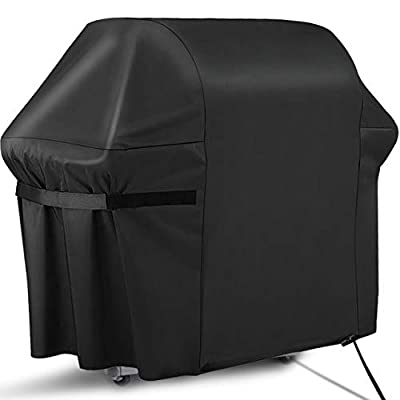 """RATEL BBQ Grill Cover, 58"""" Waterproof Barbecue Cover, 420D Oxford Cloth Gas Grill Cover - UV & Fade Resistant, Rip-Proof, for Weber, Brinkmann, Char Broil, Holland (58"""" x 24"""" x 48"""", Black)"""
