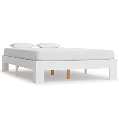 Lasamot Práctica Estructura de Cama en Dormitorio Moderno, Estructura de Cama de Pino de Madera Maciza Blanca 213 x 95 x 30 cm (Largo x Ancho x Alto)