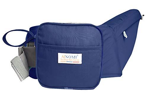 Ainomi Baby Hüfttrage Hüftsitz Hipseat mit abnehmbar Tasche Tragehilfe Kleinkind Taille Hocker Leicht Babytrage Bauchtragen - Navy Blau