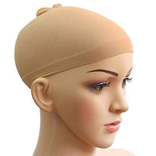 WINOMO 2pcs Confortable Doux Jersey Unisexe Perruque Filet Cap Snood (Couleur Peau)
