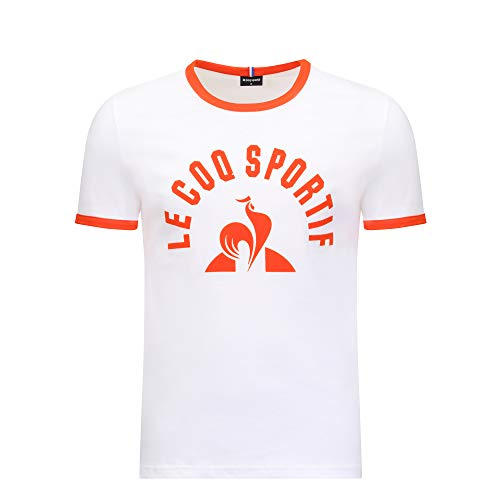 Le Coq Sportif ESS tee SS N°3 M Camiseta, Hombre, New Optical White/Orang, S