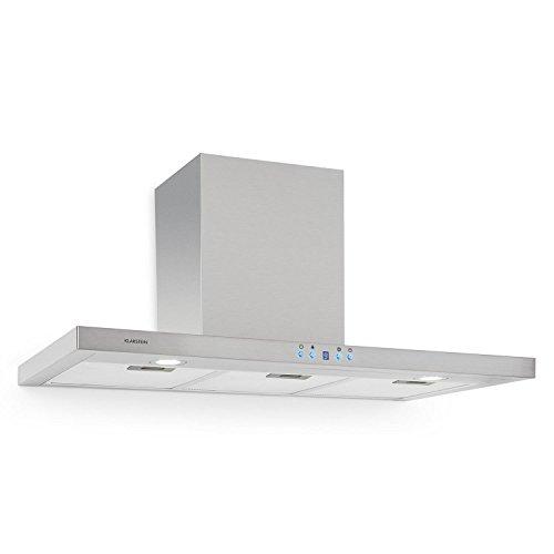 Klarstein RC90WS - Cappa aspirante, Aria di scarico/ricircolo, 3 gradini, Max, Acciaio inox, LED, Display LCD, Timer, Montaggio a parete, 90 cm, 3 x filtro grasso in alluminio, argento