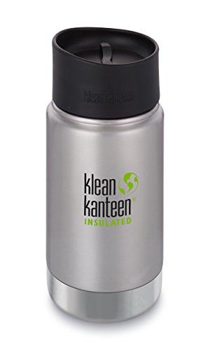 Klean Kanteen 12oz Wide Mouth Stainless Steel Coffee Mug, Double Wall Vacuum Insulated with Leak Proof Café Cap 2.0 - Brushed Stainless (NEW 2018)