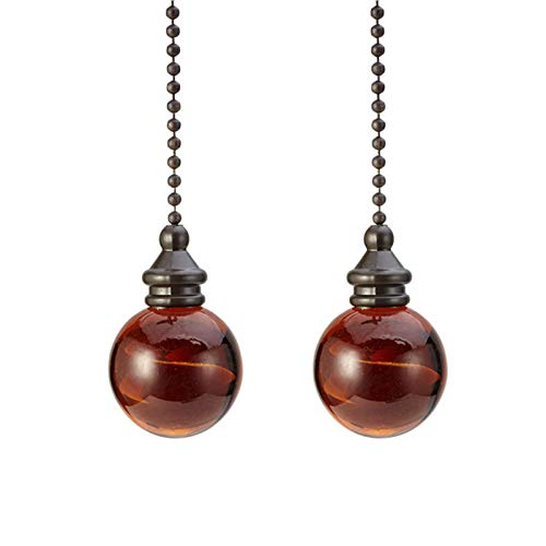 POHOVE - Cadena para ventilador de techo, 2 piezas de bola de cristal ámbar, 30 mm de diámetro, colgante de bola ámbar, cadena de 30 cm para lámpara de techo, bronce