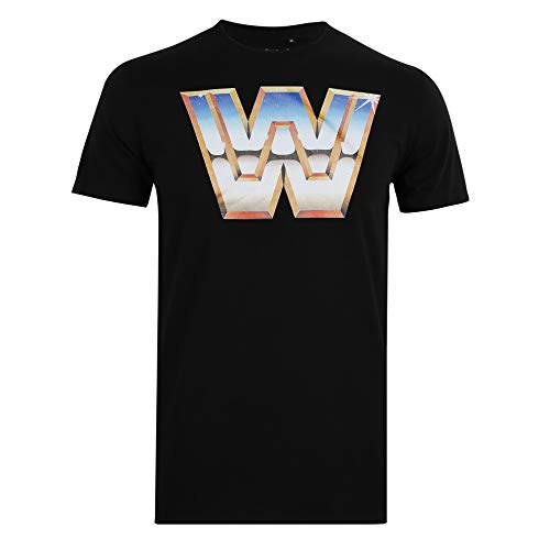 WWE Herren Retro W T-Shirt, Schwarz, Small