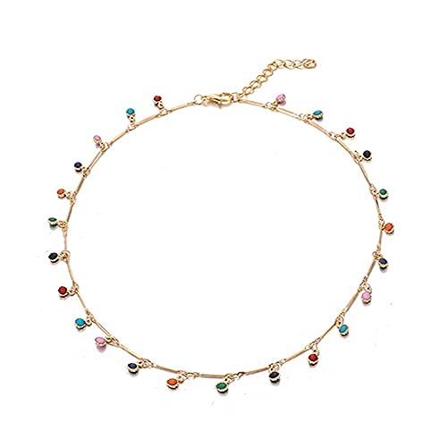 LKHJ Gold Stone Beads Gargantilla Collar Collar para Mujeres Bohemian Rojo Azul Piedra Colgante Collares Hecho a Mano joyería