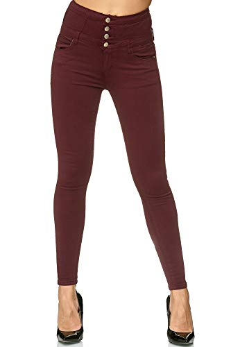 Elara Damen Stretch Jeans Skinny High Waist Chunkyrayan H601-52 Wine 36 (S)
