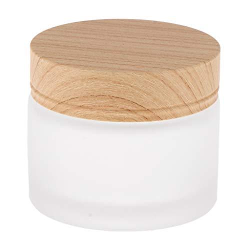 Homyl Pot Vide Cosmétique en Verre Bocaux Cosmétique pour Stockage de Poudre de Maquillage avec Couvercle en Bois - 50g