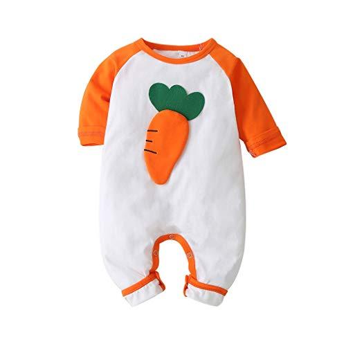 HWTOP Body Jungen Mädchen Babybody Langarm Romper Niedlich Fruchtdruck Strampler Jumpsuit Kleidung, Orange, 18-24 Monate