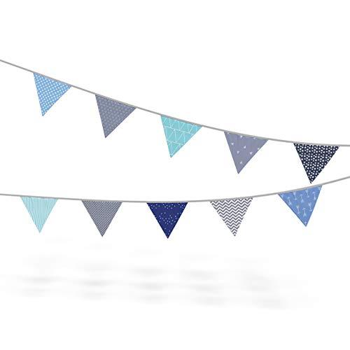 Wimpelkette Stoff-Girlande von Homery, farbenfrohe Dekoration für Kinderzimmer - wählbar in 3 verschiedenen Längen und modernen Farben (200cm, Blau/Grau)