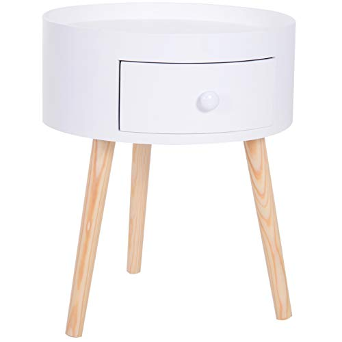 HOMCOM Modern Round Coffee Table Wooden Side Table Living Room Storage Unit w/Drawer Wood Leg - White