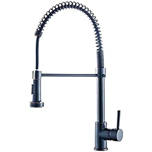 Professional Kitchen Sink Mixer Tap with Pull Out Spray Swivel&Spring Spout Single Handle Kitchen Tap Faucet Oil Rubbed Bronze