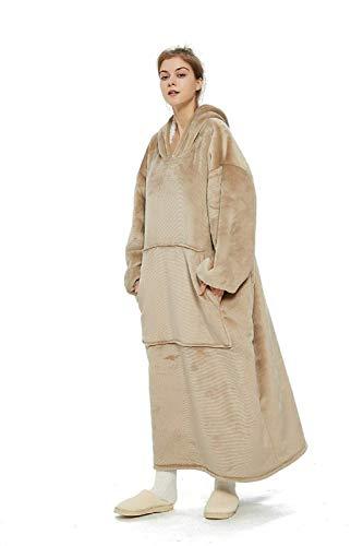iHallo Winter Warme Weiche TV Pullover Decke Sherpa Weiche XXL Decken Hoodie mit Riesen Fronttasche für Männer Frauen Jugendliche Beige
