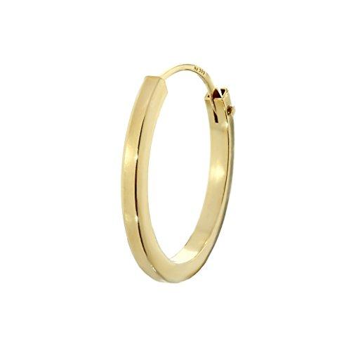 NKlaus Einzel 585er 14 Karat Gold gelbgold Creole Ohrring Ohrschmuck Quadratisch 12mm Stärke 1,5mm 2573