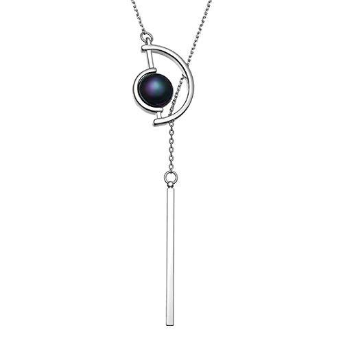 Mecool Collar largo de suéter Semicírculo largo Collar de perlas de imitación Colgante Collar de cadena larga